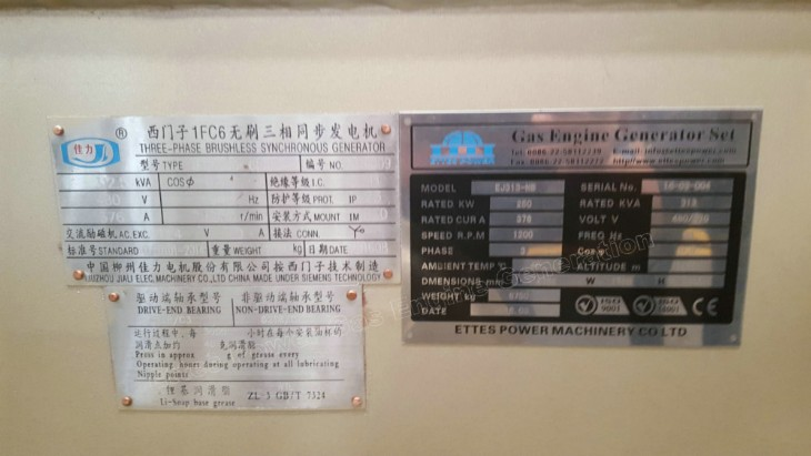 Ettes Power Nameplate 300kW 500kW Natural Gas Biogas Engine Generator CHP Ettespower